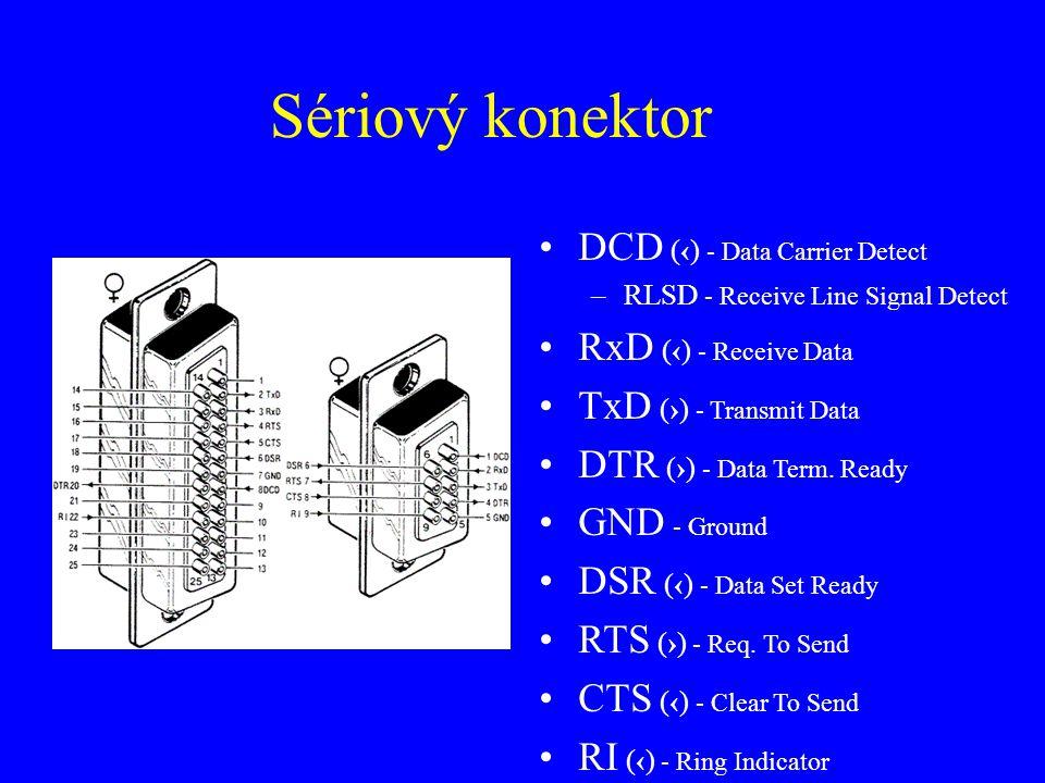 Sériový konektor DCD (‹) - Data Carrier Detect –RLSD - Receive Line Signal Detect RxD (‹) - Receive Data TxD (›) - Transmit Data DTR (›) - Data Term.
