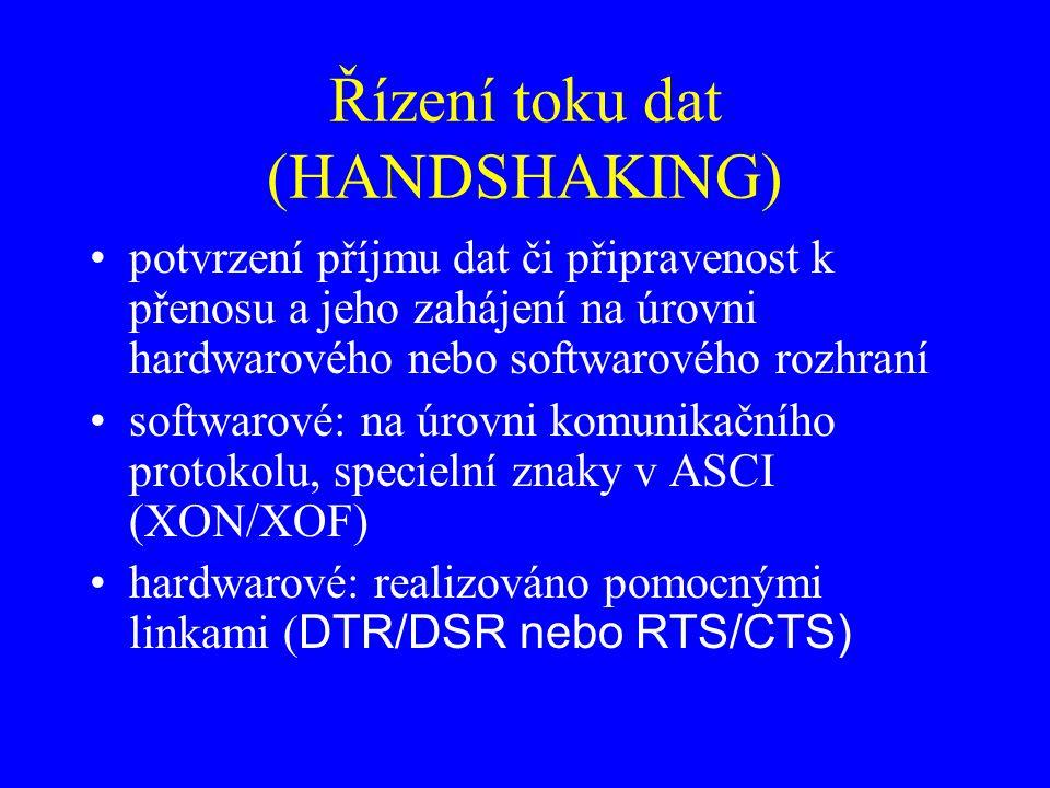 Řízení toku dat (HANDSHAKING) potvrzení příjmu dat či připravenost k přenosu a jeho zahájení na úrovni hardwarového nebo softwarového rozhraní softwarové: na úrovni komunikačního protokolu, specielní znaky v ASCI (XON/XOF) hardwarové: realizováno pomocnými linkami ( DTR/DSR nebo RTS/CTS)