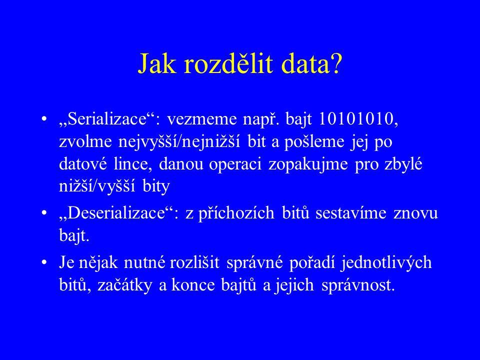 """Jak rozdělit data? """"Serializace"""": vezmeme např. bajt 10101010, zvolme nejvyšší/nejnižší bit a pošleme jej po datové lince, danou operaci zopakujme pro"""