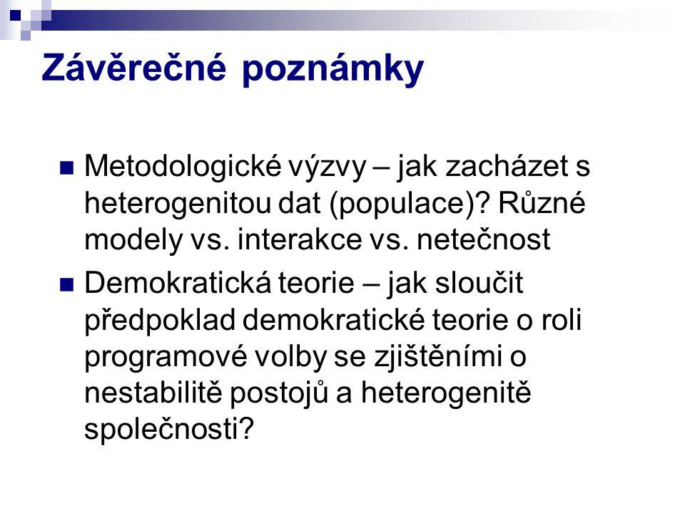Závěrečné poznámky Metodologické výzvy – jak zacházet s heterogenitou dat (populace).