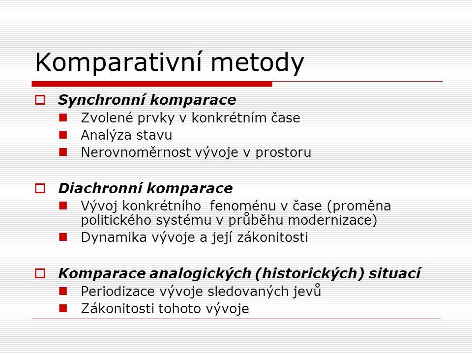 Komparativní metody  Synchronní komparace Zvolené prvky v konkrétním čase Analýza stavu Nerovnoměrnost vývoje v prostoru  Diachronní komparace Vývoj