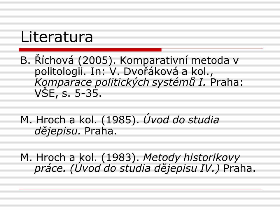 Literatura B. Říchová (2005). Komparativní metoda v politologii. In: V. Dvořáková a kol., Komparace politických systémů I. Praha: VŠE, s. 5-35. M. Hro