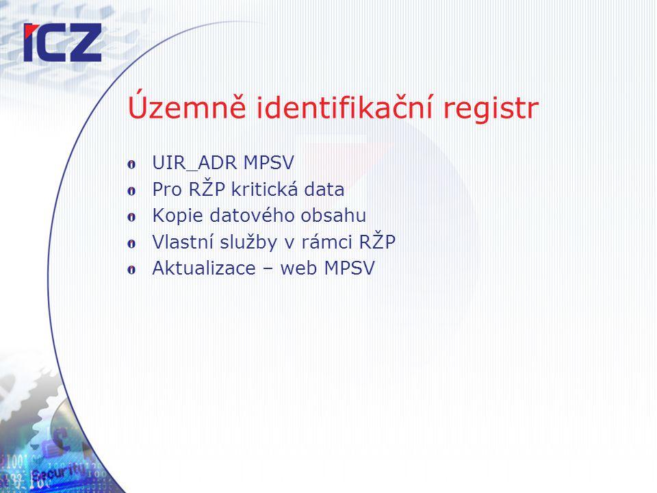 Územně identifikační registr UIR_ADR MPSV Pro RŽP kritická data Kopie datového obsahu Vlastní služby v rámci RŽP Aktualizace – web MPSV