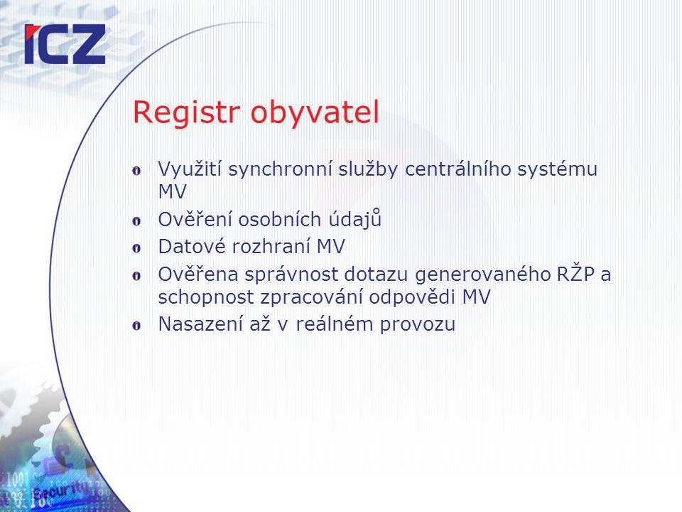 Registr obyvatel Využití synchronní služby centrálního systému MV Ověření osobních údajů Datové rozhraní MV Ověřena správnost dotazu generovaného RŽP