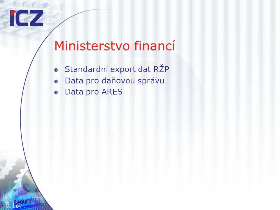 Ministerstvo financí Standardní export dat RŽP Data pro daňovou správu Data pro ARES