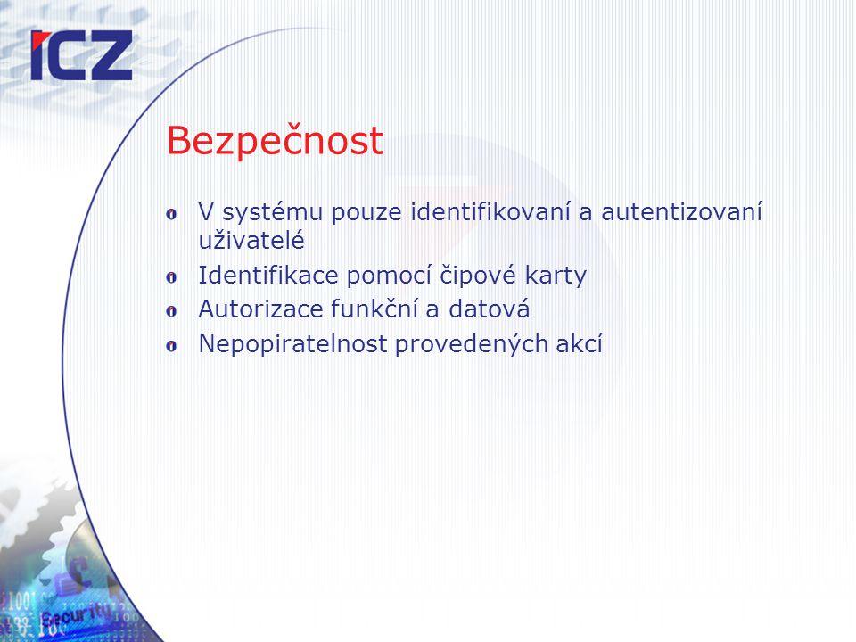 Bezpečnost V systému pouze identifikovaní a autentizovaní uživatelé Identifikace pomocí čipové karty Autorizace funkční a datová Nepopiratelnost prove