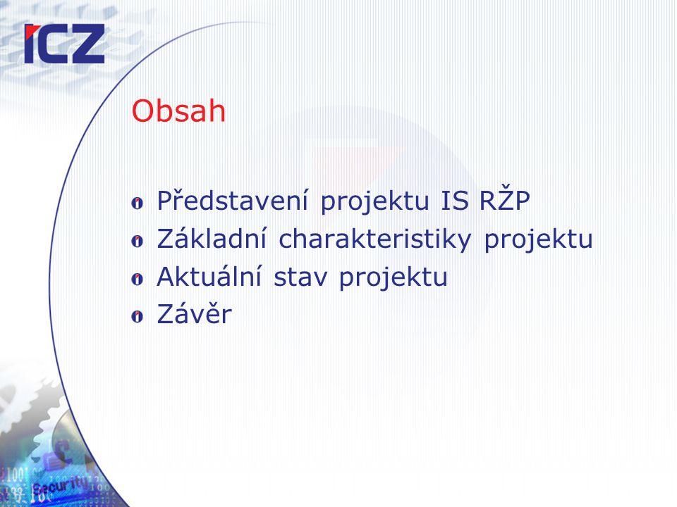 Obsah Představení projektu IS RŽP Základní charakteristiky projektu Aktuální stav projektu Závěr