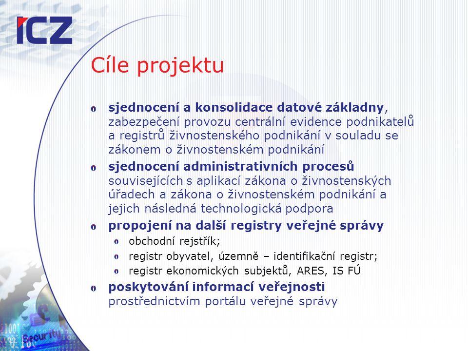 Cíle projektu sjednocení a konsolidace datové základny, zabezpečení provozu centrální evidence podnikatelů a registrů živnostenského podnikání v soula
