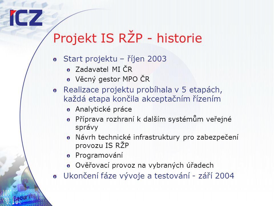 Projekt IS RŽP - historie Start projektu – říjen 2003 Zadavatel MI ČR Věcný gestor MPO ČR Realizace projektu probíhala v 5 etapách, každá etapa končil