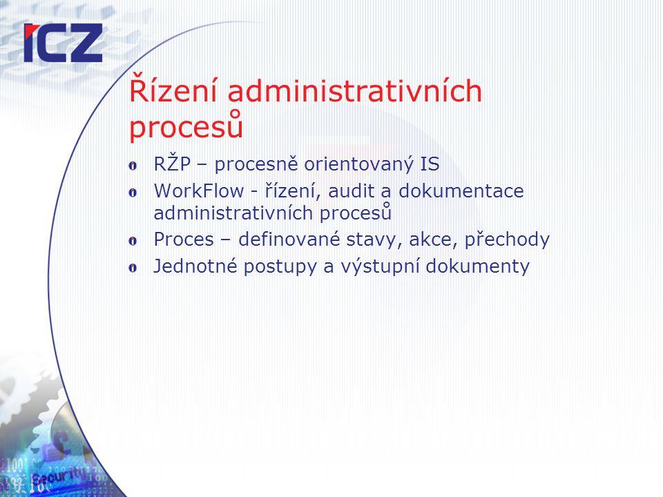 Řízení administrativních procesů RŽP – procesně orientovaný IS WorkFlow - řízení, audit a dokumentace administrativních procesů Proces – definované st