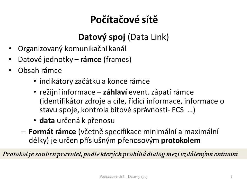 Počítačové sítě Datový spoj (Data Link) Organizovaný komunikační kanál Datové jednotky – rámce (frames) Obsah rámce indikátory začátku a konce rámce r