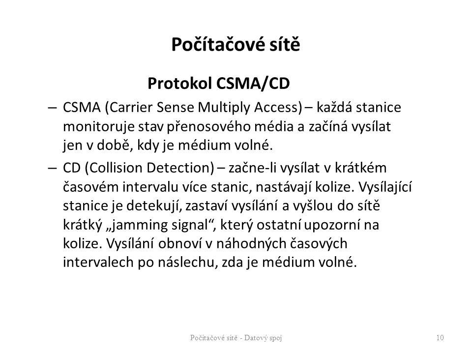 Protokol CSMA/CD – CSMA (Carrier Sense Multiply Access) – každá stanice monitoruje stav přenosového média a začíná vysílat jen v době, kdy je médium v