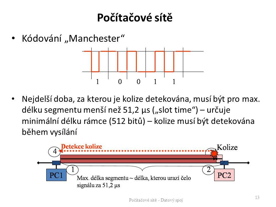 """Počítačové sítě - Datový spoj 13 Kódování """"Manchester"""" Nejdelší doba, za kterou je kolize detekována, musí být pro max. délku segmentu menší než 51,2"""