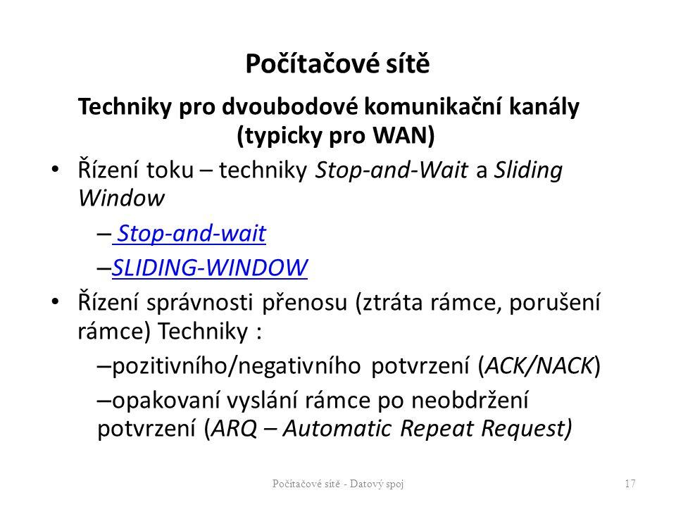 Techniky pro dvoubodové komunikační kanály (typicky pro WAN) Řízení toku – techniky Stop-and-Wait a Sliding Window – Stop-and-wait Stop-and-wait – SLI