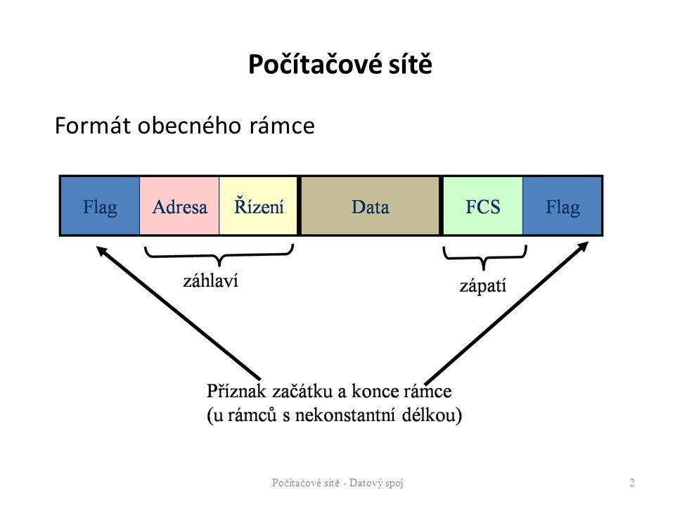 Počítačové sítě Formát obecného rámce Počítačové sítě - Datový spoj 2