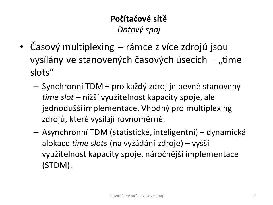 """Počítačové sítě Datový spoj Časový multiplexing – rámce z více zdrojů jsou vysílány ve stanovených časových úsecích – """"time slots"""" – Synchronní TDM –"""