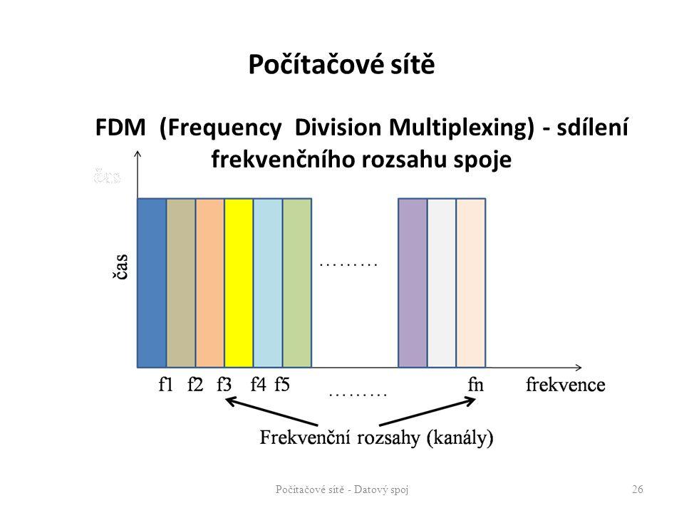 FDM (Frequency Division Multiplexing) - sdílení frekvenčního rozsahu spoje Počítačové sítě - Datový spoj 26 frekvence Počítačové sítě