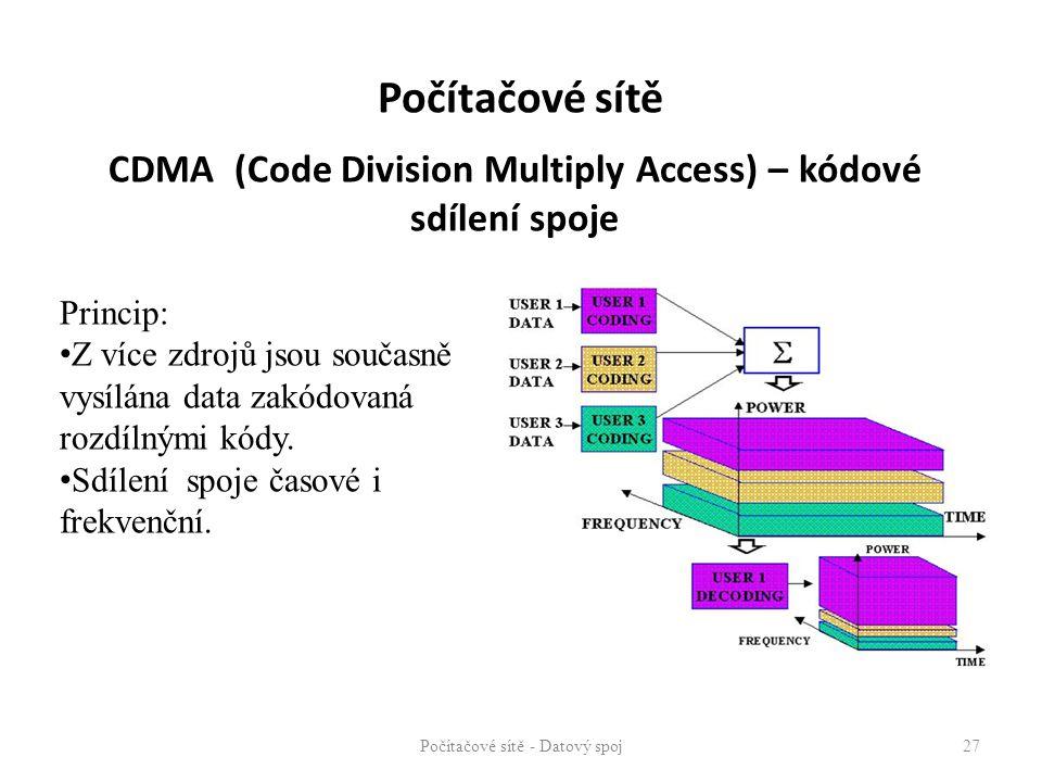 CDMA (Code Division Multiply Access) – kódové sdílení spoje Počítačové sítě - Datový spoj 27 Princip: Z více zdrojů jsou současně vysílána data zakódo