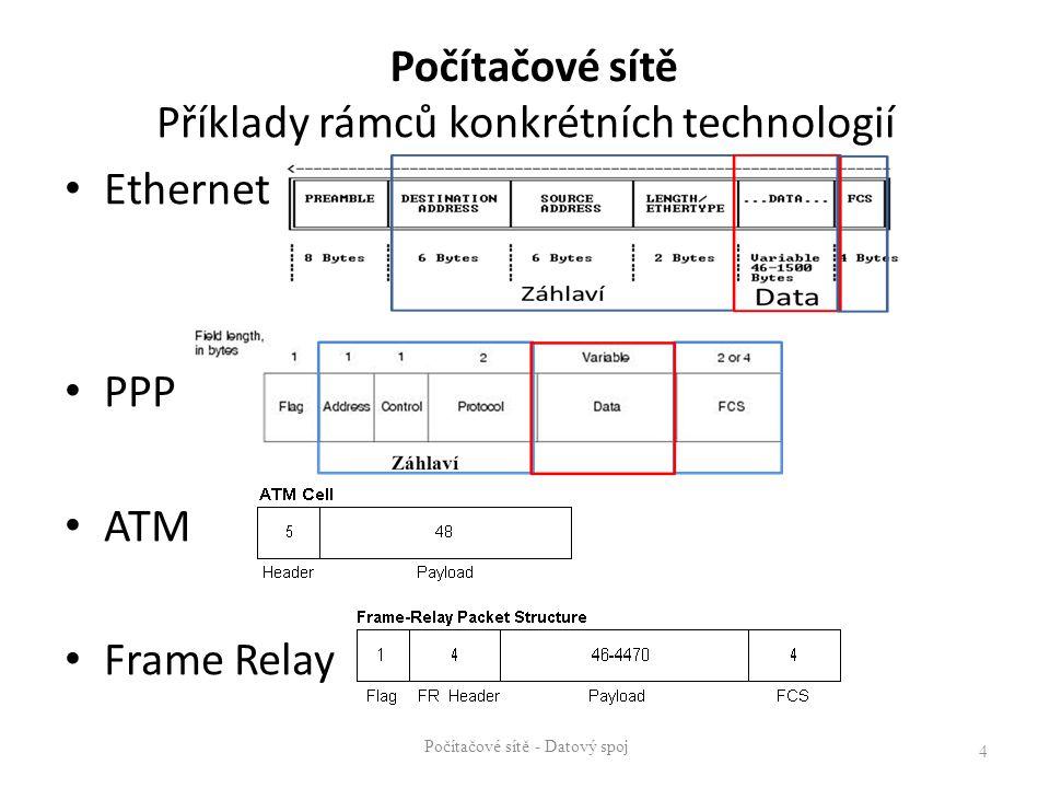 Počítačové sítě - Datový spoj 4 Počítačové sítě Příklady rámců konkrétních technologií Ethernet PPP ATM Frame Relay