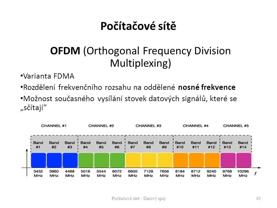 OFDM (Orthogonal Frequency Division Multiplexing) Varianta FDMA Rozdělení frekvenčního rozsahu na oddělené nosné frekvence Možnost současného vysílání