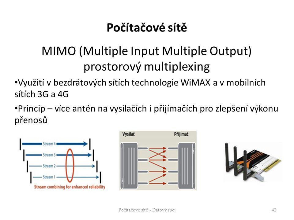 MIMO (Multiple Input Multiple Output) prostorový multiplexing Využití v bezdrátových sítích technologie WiMAX a v mobilních sítích 3G a 4G Princip – v