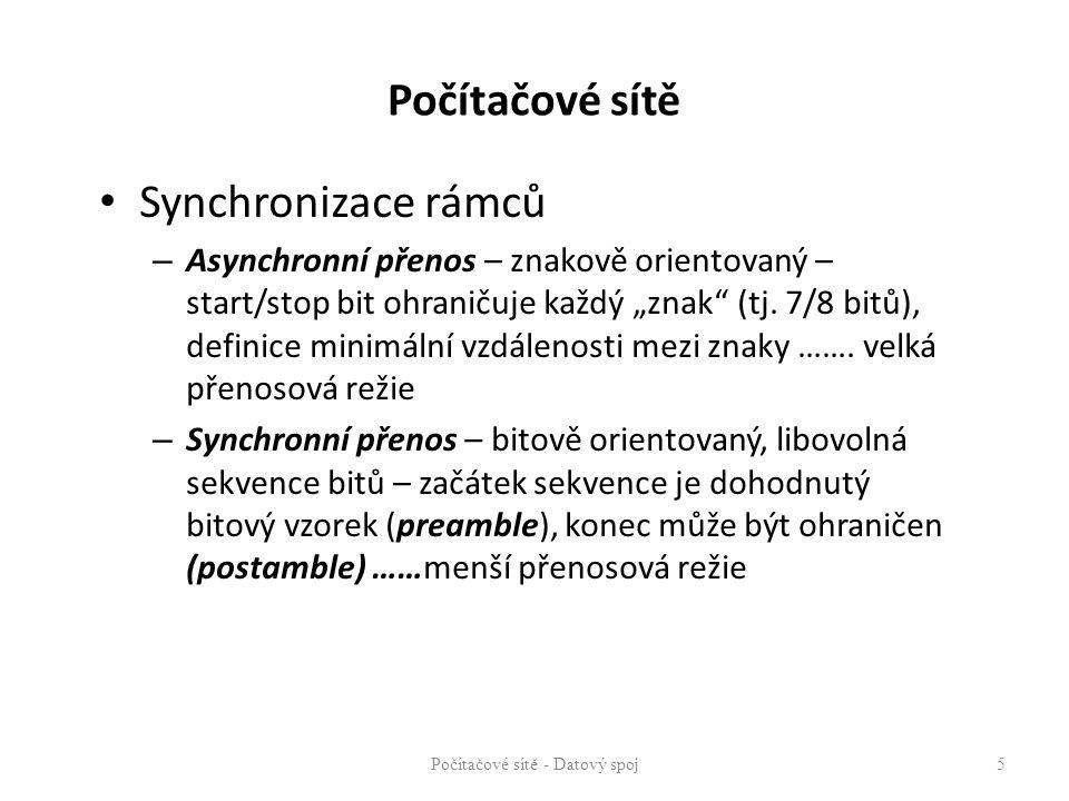 """Synchronizace rámců – Asynchronní přenos – znakově orientovaný – start/stop bit ohraničuje každý """"znak"""" (tj. 7/8 bitů), definice minimální vzdálenosti"""