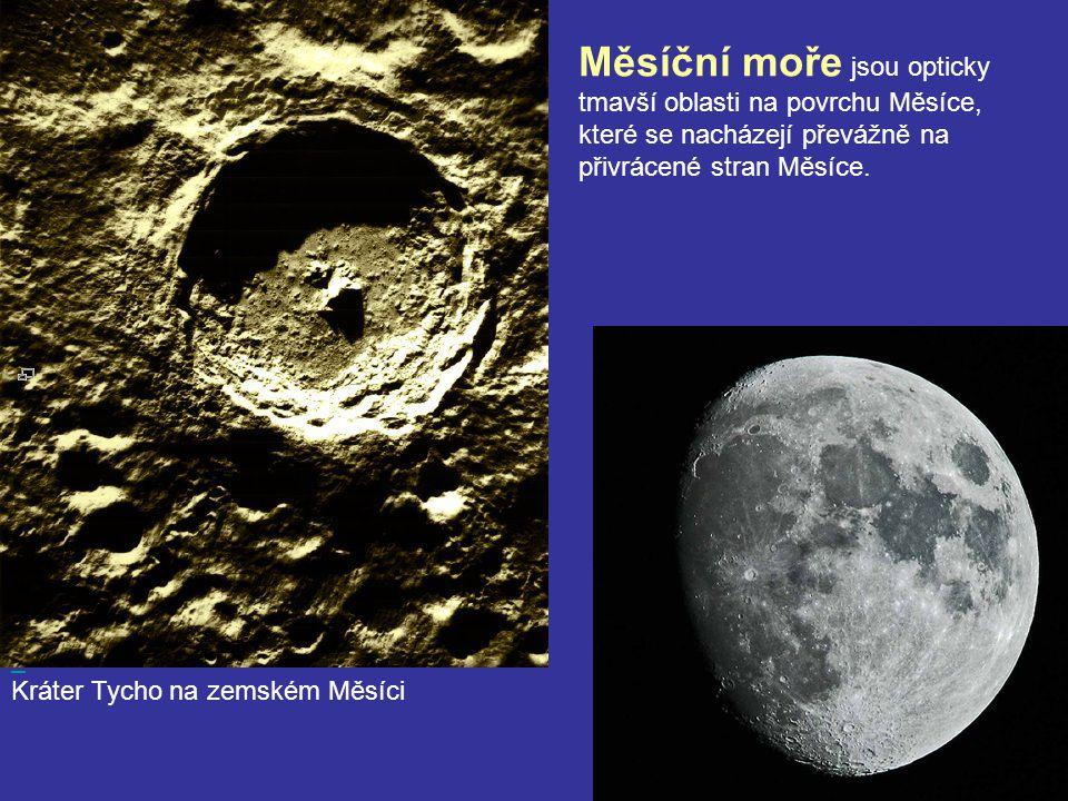 Kráter Tycho na zemském Měsíci Měsíční moře jsou opticky tmavší oblasti na povrchu Měsíce, které se nacházejí převážně na přivrácené stran Měsíce.