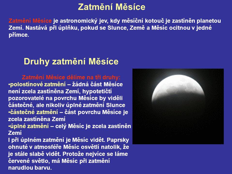 Druhy zatmění Měsíce Zatmění Měsíce dělíme na tři druhy: polostínové zatmění – žádná část Měsíce není zcela zastíněna Zemí, hypotetičtí pozorovatelé n