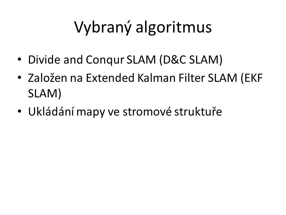 Vybraný algoritmus Divide and Conqur SLAM (D&C SLAM) Založen na Extended Kalman Filter SLAM (EKF SLAM) Ukládání mapy ve stromové struktuře