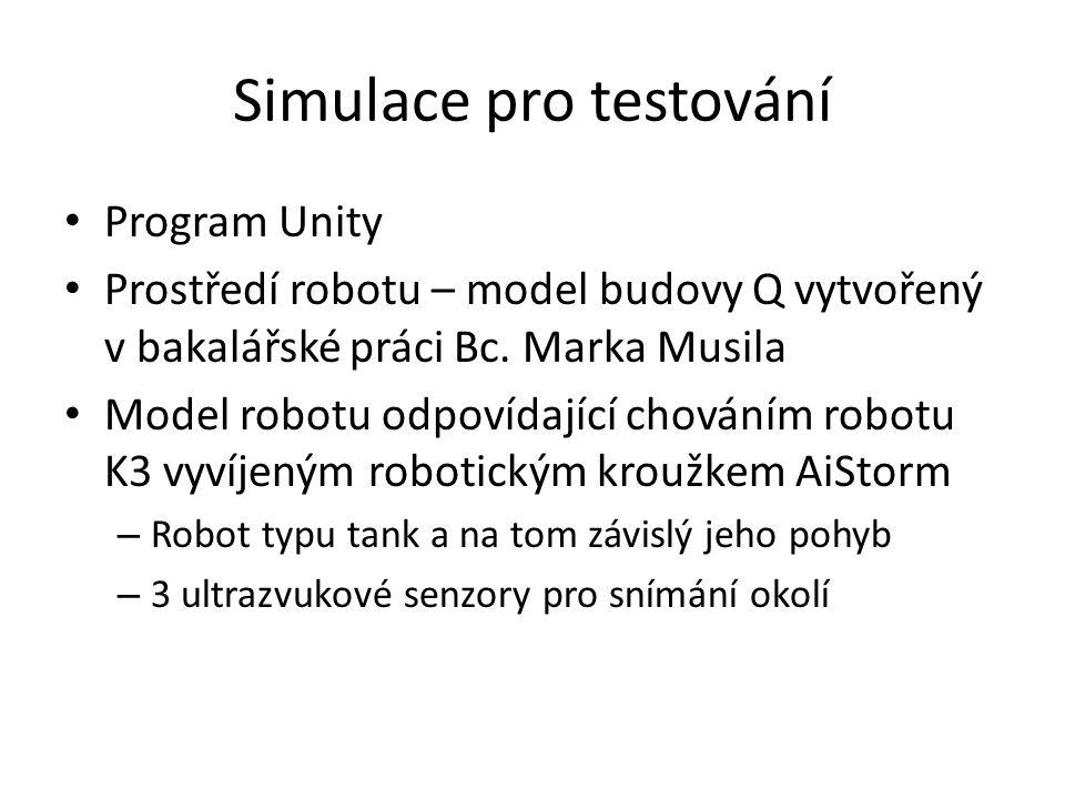 Simulace pro testování Program Unity Prostředí robotu – model budovy Q vytvořený v bakalářské práci Bc.