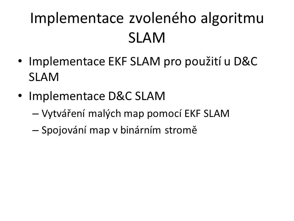 Implementace zvoleného algoritmu SLAM Implementace EKF SLAM pro použití u D&C SLAM Implementace D&C SLAM – Vytváření malých map pomocí EKF SLAM – Spojování map v binárním stromě