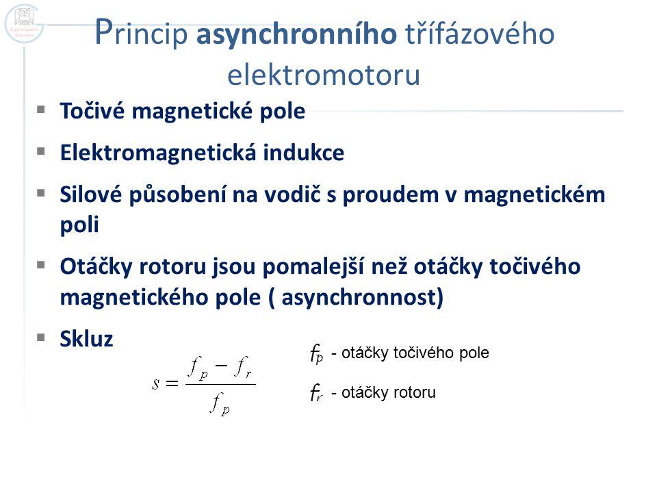 P rincip asynchronního třífázového elektromotoru  Točivé magnetické pole  Elektromagnetická indukce  Silové působení na vodič s proudem v magnetickém poli  Otáčky rotoru jsou pomalejší než otáčky točivého magnetického pole ( asynchronnost)  Skluz f p - otáčky točivého pole f r - otáčky rotoru