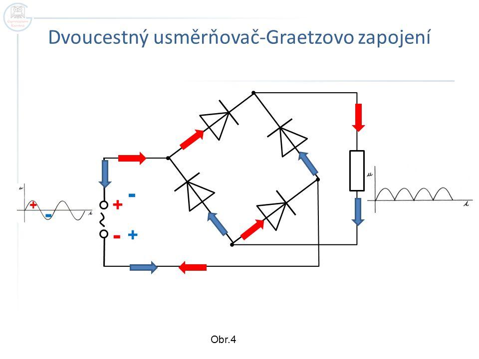 Dvoucestný usměrňovač-Graetzovo zapojení + - + + - - Obr.4