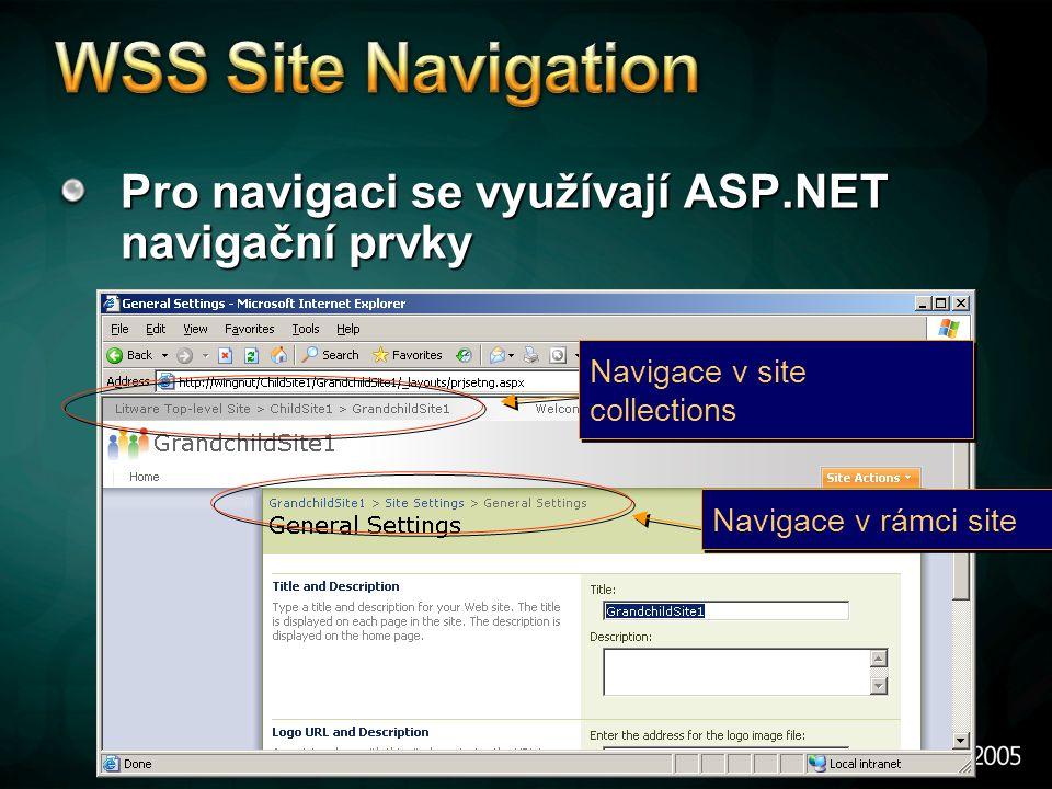 Pro navigaci se využívají ASP.NET navigační prvky Navigace v rámci site Navigace v site collections