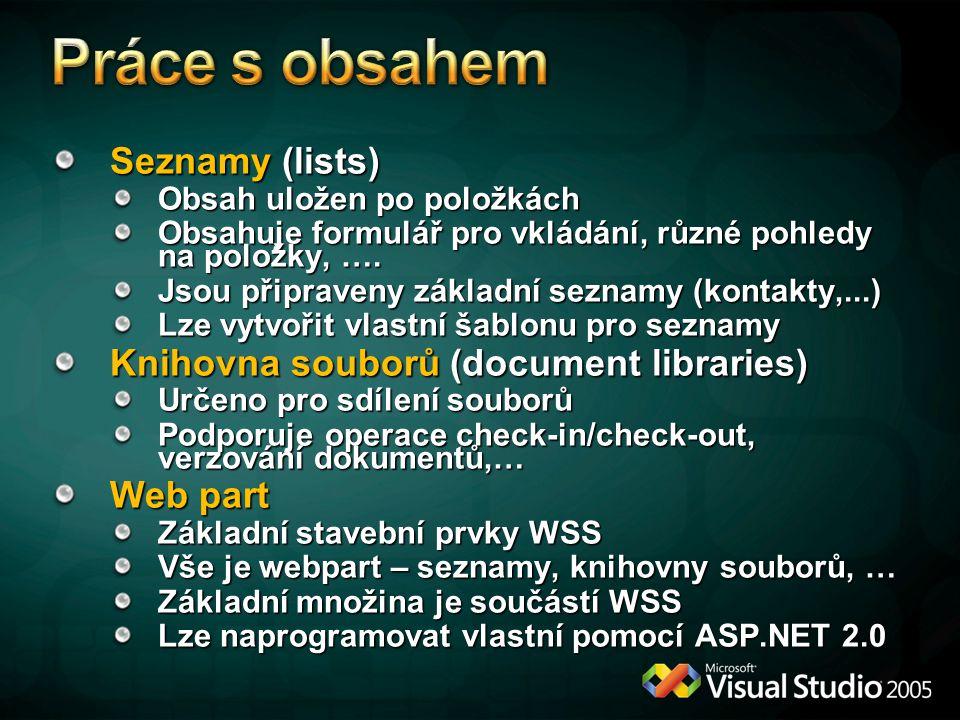 Seznamy (lists) Obsah uložen po položkách Obsahuje formulář pro vkládání, různé pohledy na položky, ….
