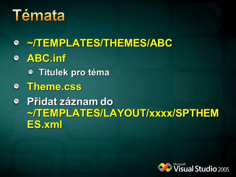 ~/TEMPLATES/THEMES/ABCABC.inf Titulek pro téma Theme.css Přidat záznam do ~/TEMPLATES/LAYOUT/xxxx/SPTHEM ES.xml