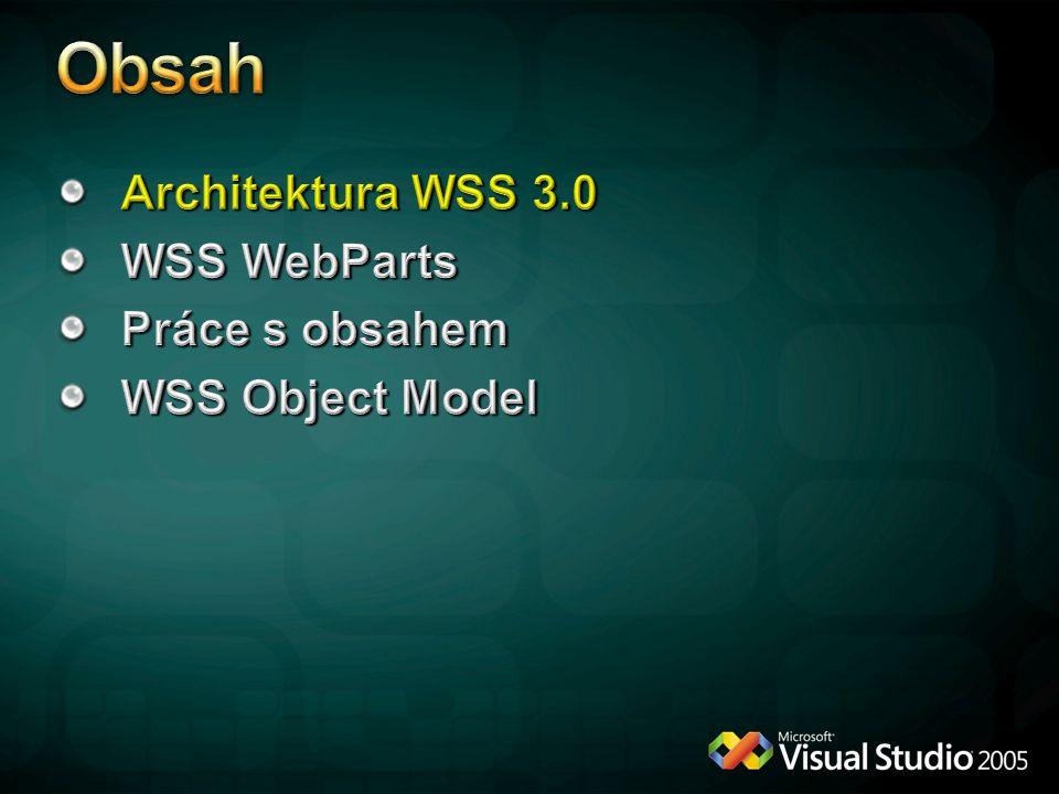 Integrace s ASP.NET 2.0 (Master pages, Webparts) Recycle Bin Integrace s WWF Podpora RSS Feedu Item-level security Content types Synchronní události Features framework