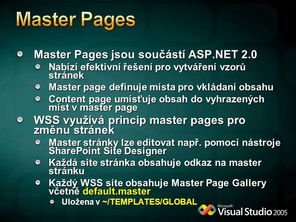 Master Pages jsou součástí ASP.NET 2.0 Nabízí efektivní řešení pro vytváření vzorů stránek Master page definuje místa pro vkládaní obsahu Content page umísťuje obsah do vyhrazených míst v master page WSS využívá princip master pages pro změnu stránek Master stránky lze editovat např.