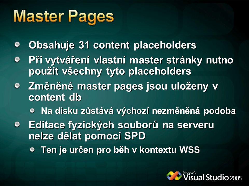 Obsahuje 31 content placeholders Při vytváření vlastní master stránky nutno použít všechny tyto placeholders Změněné master pages jsou uloženy v content db Na disku zůstává výchozí nezměněná podoba Editace fyzických souborů na serveru nelze dělat pomocí SPD Ten je určen pro běh v kontextu WSS