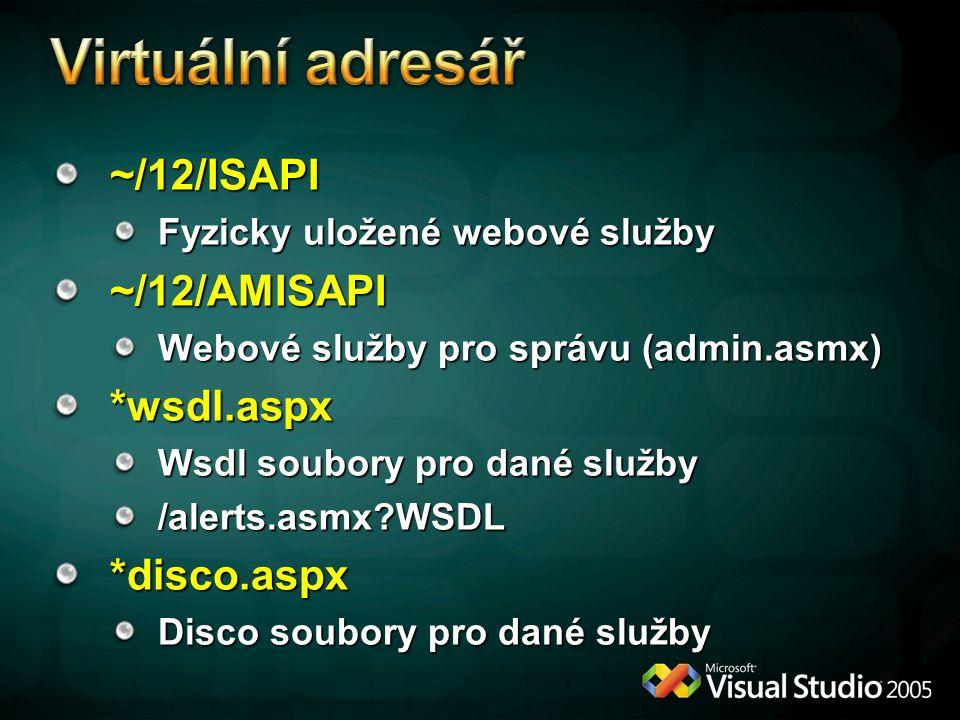 ~/12/ISAPI Fyzicky uložené webové služby ~/12/AMISAPI Webové služby pro správu (admin.asmx) *wsdl.aspx Wsdl soubory pro dané služby /alerts.asmx?WSDL*disco.aspx Disco soubory pro dané služby