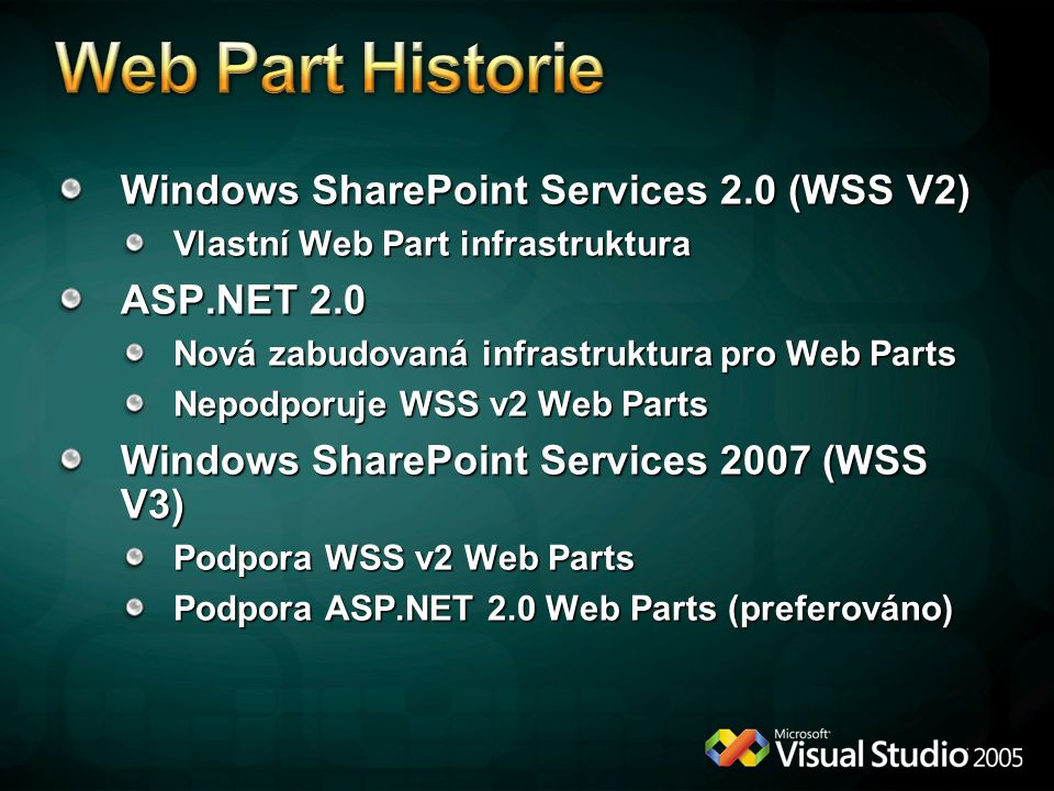 Windows SharePoint Services 2.0 (WSS V2) Vlastní Web Part infrastruktura ASP.NET 2.0 Nová zabudovaná infrastruktura pro Web Parts Nepodporuje WSS v2 Web Parts Windows SharePoint Services 2007 (WSS V3) Podpora WSS v2 Web Parts Podpora ASP.NET 2.0 Web Parts (preferováno)