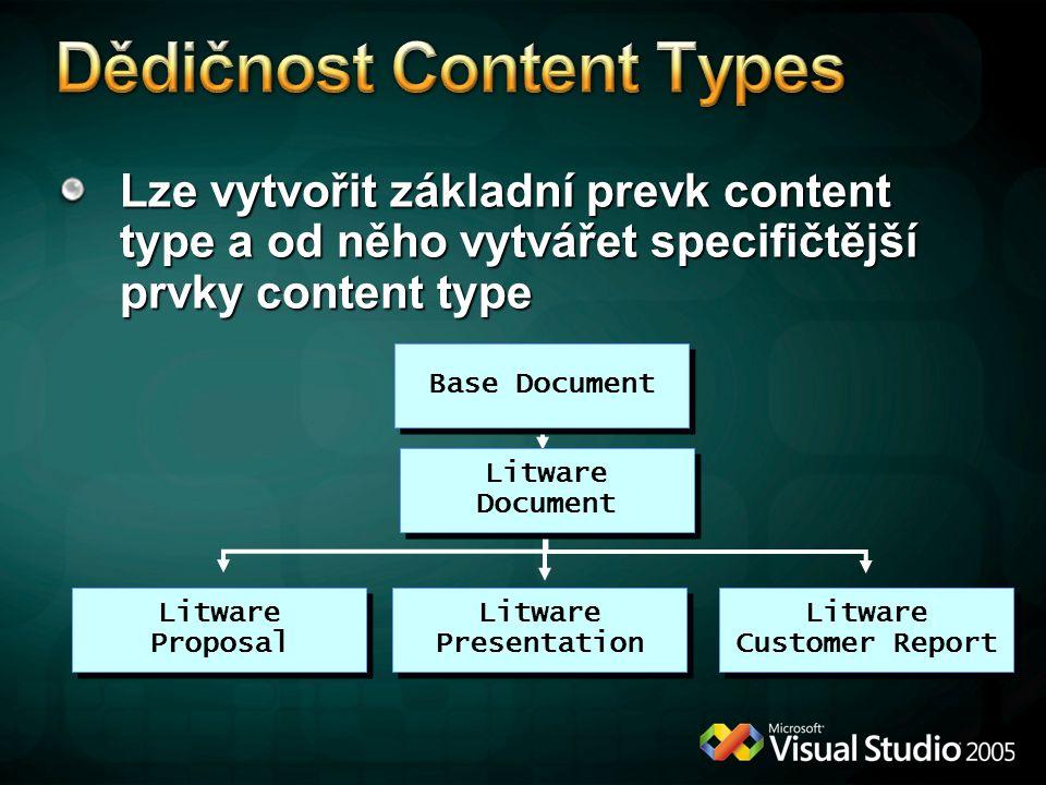 Lze vytvořit základní prevk content type a od něho vytvářet specifičtější prvky content type Base Document Litware Document Litware Presentation Litware Customer Report Litware Proposal