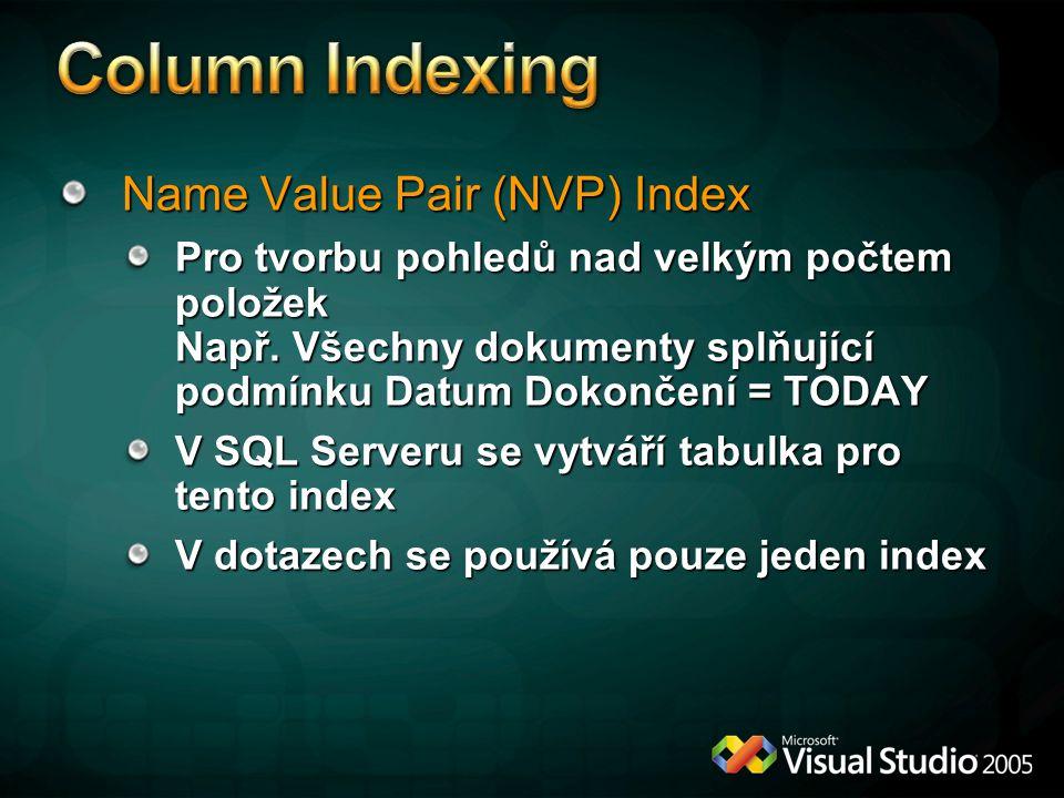 Name Value Pair (NVP) Index Pro tvorbu pohledů nad velkým počtem položek Např.