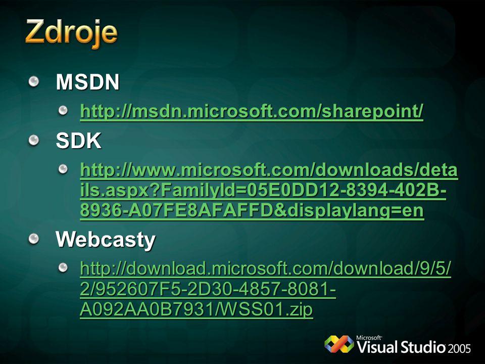 MSDN http://msdn.microsoft.com/sharepoint/ SDK http://www.microsoft.com/downloads/deta ils.aspx?FamilyId=05E0DD12-8394-402B- 8936-A07FE8AFAFFD&displaylang=en http://www.microsoft.com/downloads/deta ils.aspx?FamilyId=05E0DD12-8394-402B- 8936-A07FE8AFAFFD&displaylang=enWebcasty http://download.microsoft.com/download/9/5/ 2/952607F5-2D30-4857-8081- A092AA0B7931/WSS01.zip http://download.microsoft.com/download/9/5/ 2/952607F5-2D30-4857-8081- A092AA0B7931/WSS01.zip