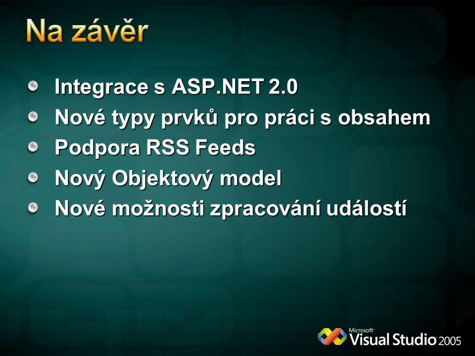 Integrace s ASP.NET 2.0 Nové typy prvků pro práci s obsahem Podpora RSS Feeds Nový Objektový model Nové možnosti zpracování událostí