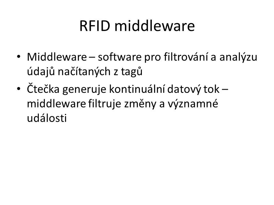 RFID middleware Middleware – software pro filtrování a analýzu údajů načítaných z tagů Čtečka generuje kontinuální datový tok – middleware filtruje změny a významné události