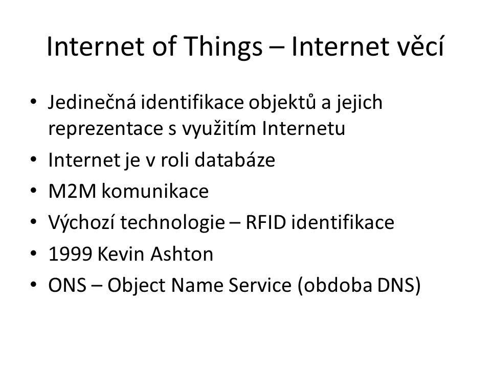 Internet of Things – Internet věcí Jedinečná identifikace objektů a jejich reprezentace s využitím Internetu Internet je v roli databáze M2M komunikace Výchozí technologie – RFID identifikace 1999 Kevin Ashton ONS – Object Name Service (obdoba DNS)
