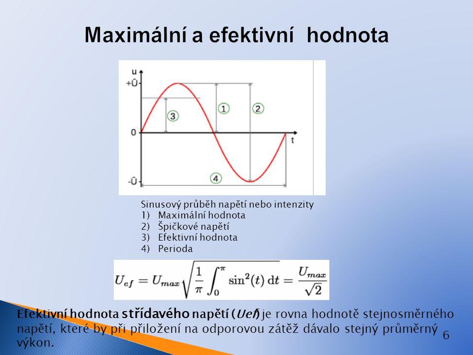 6 Sinusový průběh napětí nebo intenzity 1) Maximální hodnota 2) Špičkové napětí 3) Efektivní hodnota 4) Perioda Efektivní hodnota střídavého napětí (U