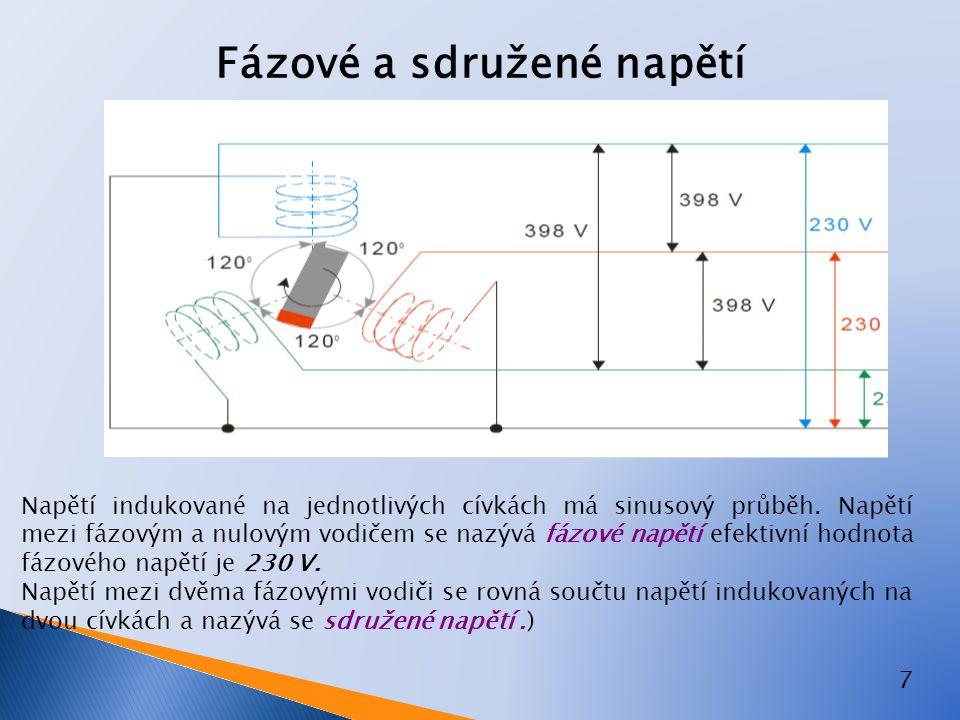 7 Fázové a sdružené napětí Napětí indukované na jednotlivých cívkách má sinusový průběh. Napětí mezi fázovým a nulovým vodičem se nazývá fázové napětí