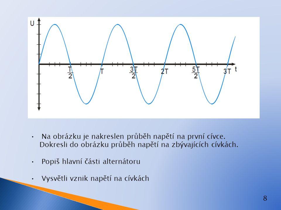 9 Zapiš velikost napětí mezi jednotlivými vodiči Vysvětli pojem fázové a sdružené napětí Popiš, jaká napětí označují číslice 1-4 Vysvětli pojem efektivní hodnota střídavého napětí Amplituda střídavého napětí naměřená na osciloskopu je360V, jaká bude efektivní hodnota ?